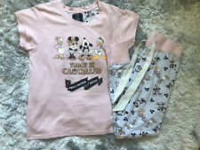 Ladies Primark Pink Minnie & Mickey Disney Print Pyjama Set Size UK 10-12