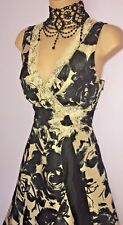 PHASE EIGHT black blue gold silk lace trm empire line cocktail dress 12 pristine