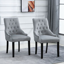 2x Velvet Dining Chairs with Rivets Knocker Home Dining Room Kitchen Silver Grey