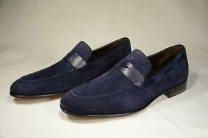 Italian Blue Suede Handmade Mens Loafers Dress Shoes Size 8