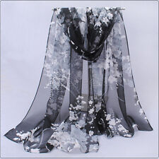 "New WOMEN Black White Real 100% SILK LONG SCARF SHAWL WRAP ""Floral"""