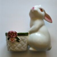 Vintage 1980 Avon Candle & Holder Bunny Bright Ceramic Fragrance Apple Spice