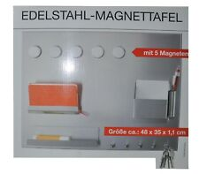 EDELSTAHL MAGNETTAFEL 48x35x1,1cm MAGNETWAND PINNWAND SCHLÜSSELBOARD MEMOBOARD