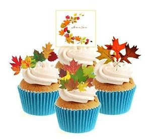 Novelty Autumn Leaves Collection 12 Edible Stand Up wafer paper cake toppers