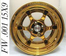 """FelgenWerks FW .001 24K Dubai Gold Chrome 15x9 4-100 [+15mm] 4.5"""" LIP Honda CRX"""
