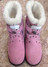 Ed Hardy Straps Faux Fur- Skull Print Pink Suede Girls Boots  Size 5
