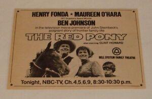 1973 NBC tv movie ad ~ THE RED PONY Henry Fonda, Maureen O'Hara, Clint Howard