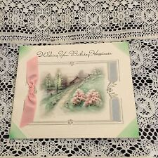 Vintage Greeting Card Birthday Home Pink Ribbon And Trees