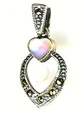 925 Silver Mother of Pearl & Marcasite Heart Pendant