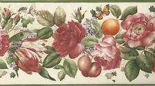 Wallpaper Border Floral and Fruit on Cream With Butterflies and Green Trim