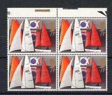 7p SAILING UNMOUNTED MINT BLOCK OF 4 + GOLD COLOUR SHIFT