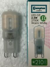 2 x CROMPTON LED G9 2.5W WARM WHITE 210 LUMENS 3145 2700K 6000 HOURS