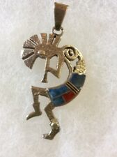 Sterling Silver Inlay Kokopelli Pendant Turquoise Coral Native American Signed