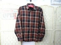 CASA MODA cotton checked shirt long sleeved brown brushed soft lumberjack L