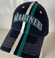 Seattle Mariners Hat Cap Striped MLB Spellout Logo Space Needle Strapback Blue