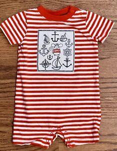 Gymboree Shore To Love Baby Boy Shortall Romper 3-6m Red White Nautical Stripe