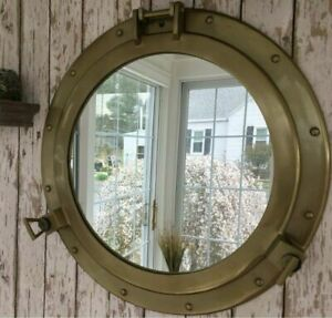 "20"" Antique Brass Porthole Windows Glass Large Nautical Boat Wall Mirror Decor"