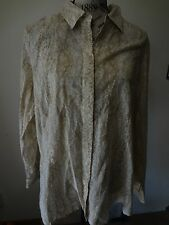 New listing Womens Coldwater Creek Size 1x 18 Beige White Snake Reptile Print No Iron Top
