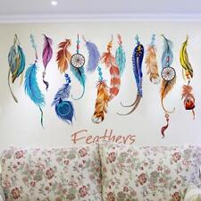 Modern 3D Vinyl Feather Wall Stickers Mural Home Decals Living Room Decoration