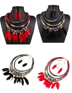 BOHO Ethnic Feather collar multi layered statement Pendant Red necklace set