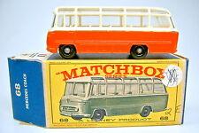 "Matchbox RW 68B Mercedes Coach orange top in ""E1"" Box mit grünem Modell"