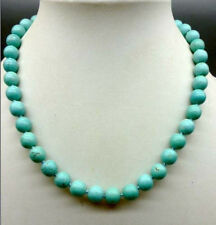 """natural round blue turquoise bead 10mm necklace 18""""AAA+"""