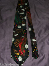 GOLF THEMED MEN'S NECK TIE POLYESTER NWOT BLACK WITH MULTICOLOR IMAGES