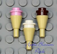 NEW Lego Lot/3 Minifig ICE CREAM CONES Tan w/Pink/White/Brown - Minifigure Food