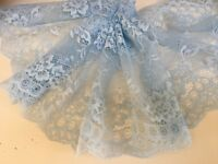 """Pretty & Delicate 7""""/18cm Sky Blue Galloon Flat Tulle Lace Trim.*FREE 1ST CLASS*"""