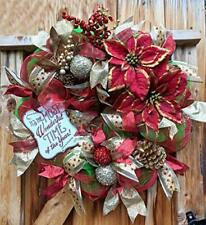 """Poinsettia 26 inch""""Most Wonderful Time of the Year"""" Red and Gold Deco Wreath"""
