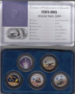 """Coffret USA 5 monnaies commémoratives Half Dollar """"Exploration sur Mars"""" 2004"""