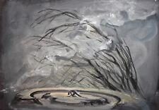Vintage Gouache Painting Modernist Landscape