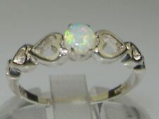 9ct White Gold Natural Opal Womens Solitaire Ring - Sizes J to Z