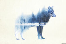 FOREST WOLF - ART / FANTASY POSTER / PRINT (WOLF IN NATURE)