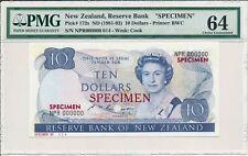 Reserve Bank New Zealand  $10 ND(1981-82) Specimen PMG  64