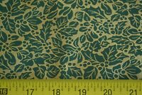 By 1/2 Yd, Vintage, Green Leaves on Metallic-Gold Quilt Cotton, N494