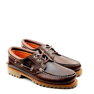 Timberland Icon 3 Eye Classic Handsewn Boat Lug Shoes Mens Brown Leather 6500A