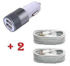 Apple iPhone 6/5/5S/5C In Car Super Fast Charger + 2x 8-Pin Usb Data Lead Cable