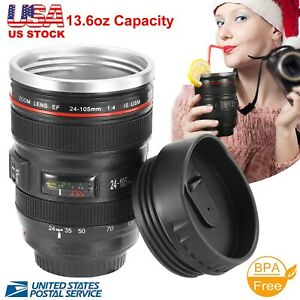 Camera Lens Coffee Mug Cup 24-105 Travel Stainless Steel Leakproof Lid Insulated