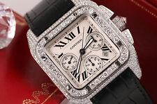 Cartier Santos 100 Cronógrafo W20090X8 41mm Hombres Acero Inoxidable 17ctw Reloj