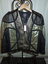 Marchesa Voyage Black Gold Sequin Embellished Scrap Jacket Size 4 MSRP $895+