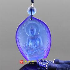 Medicine Buddha Chinese Colored Glaze Crystal Liuli Car Pendant Bhaisajyaguru