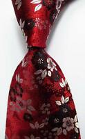 New Classic Floral Red White Black JACQUARD WOVEN 100% Silk Men's Tie Necktie