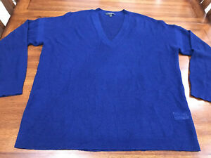 J Crew Womens' Sweater Pullover 100% Merino Wool Sheer Ink Blue V Neck Sz XL