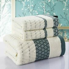 Diamond Plaid Bamboo Towel Sets 3Pcs Cotton Bath Beach Face Cloth Christmas Gift