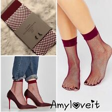 Zara Fishnet Sock Set 2 Pairs Burgundy NWT