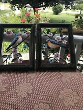 2 Framed Blue Bird on Tree Branch Metal Wall Art For Home & Office Wall Decor