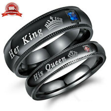 1pc Couple Matching Ring Her King or His Queen Stainless Steel Wedding Band Gift