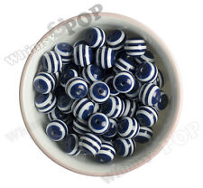 16mm - 15pcs Navy Blue Striped Gumball Beads Bubble Gum Spacer Small Round USA