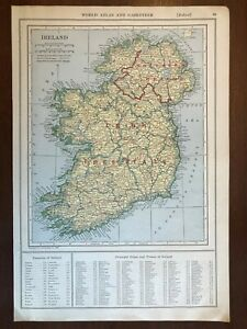 1927 Ireland Map, New World Atlas and Gazetteer